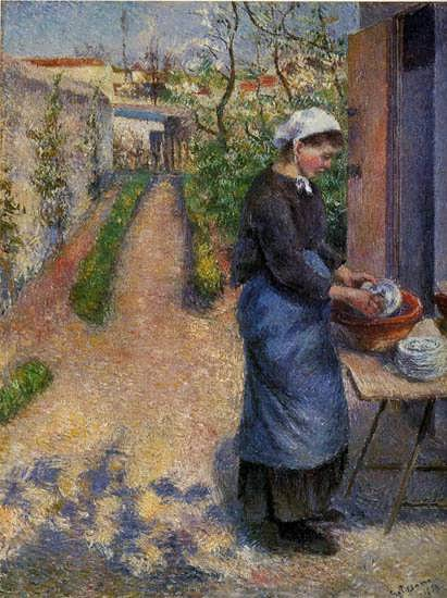 CamillePissarro-YoungWomanWashingPlates