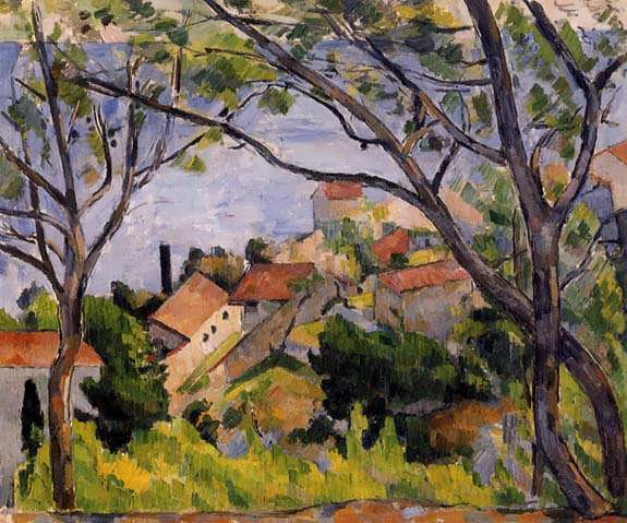 Cezanne-LEstaqueViewthroughtheTrees