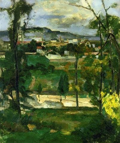 Cezanne-VillagebehindTreesIledeFrance