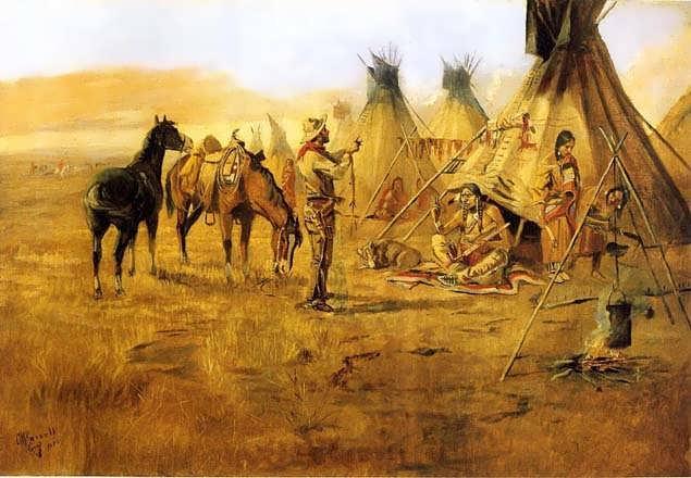 CharlesMarionRussell-CowboyBargainingforanIndianGirl