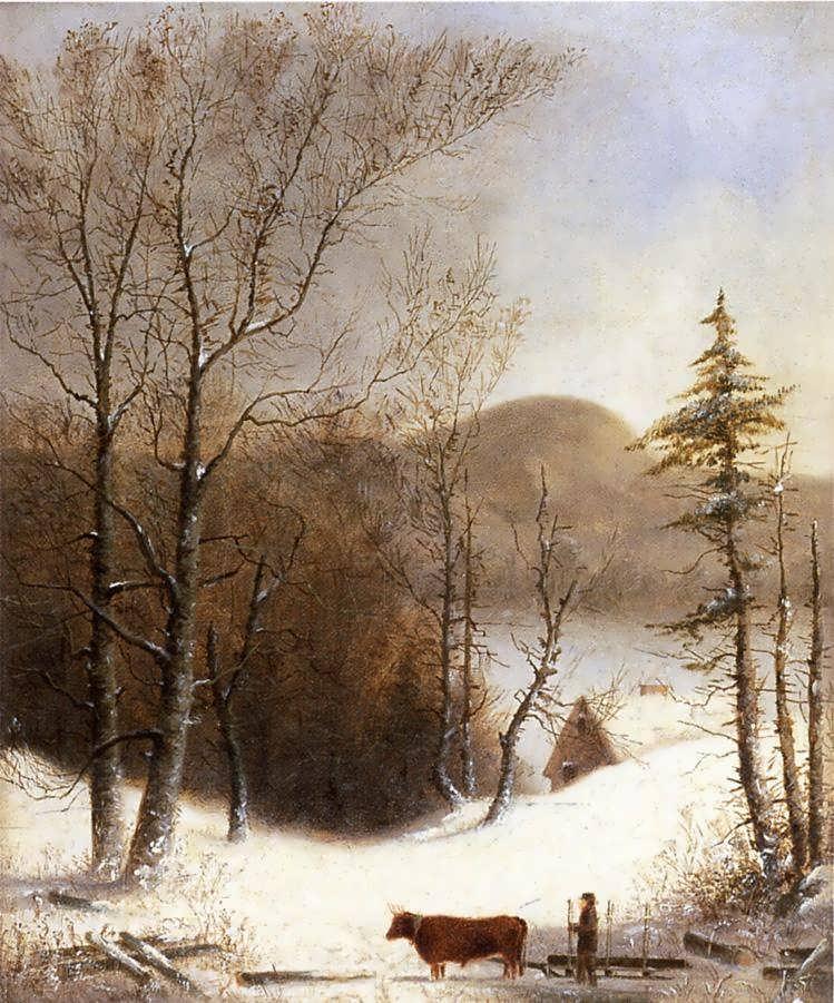 GeorgeHenryDurrie-WinterLandscapewithLogCart1