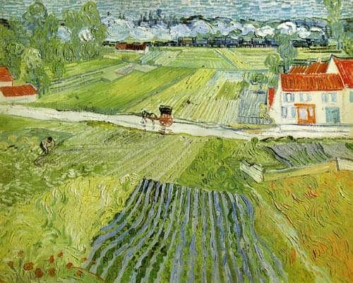 Gogh-LandscapewithCarriageandTrain
