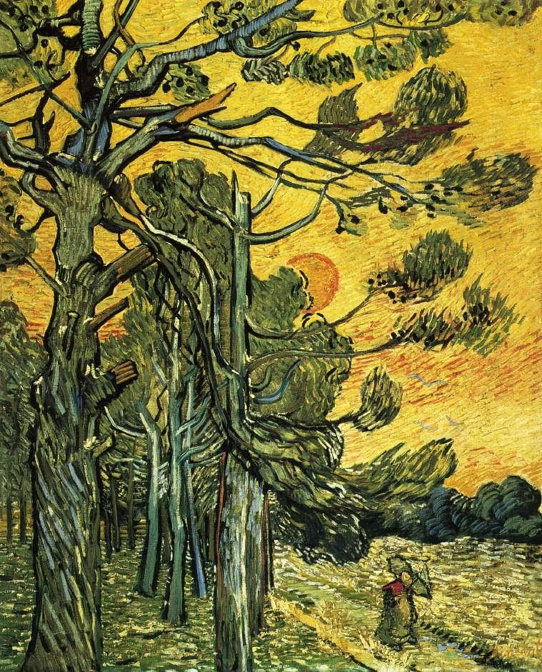 Gogh-PineTreesagainstanEveningSkyakaWeatherbeatenPineTrees