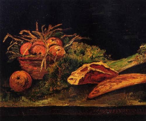 Gogh-StillLifewithApplesMeatandaRoll