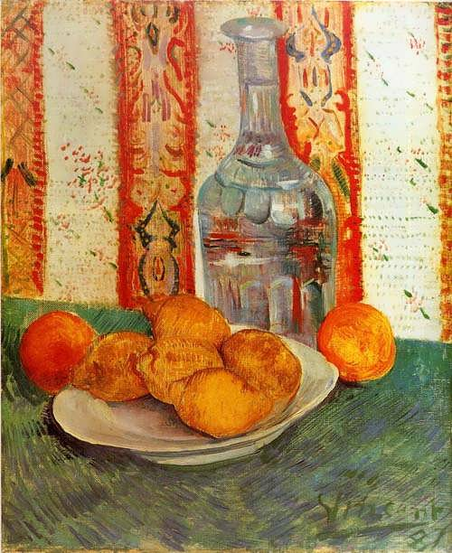 Gogh-StillLifewithDecanterandLemonsonaPlate