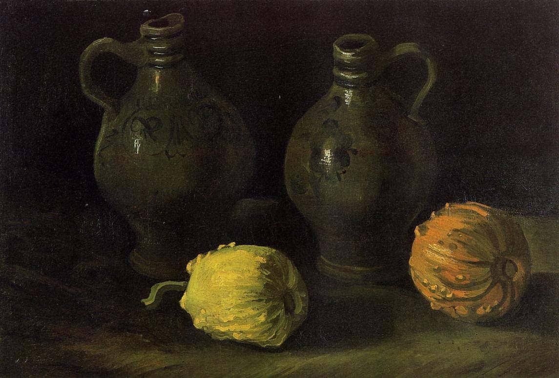 Gogh-StillLifewithTwoJarsandTwoPumpkins
