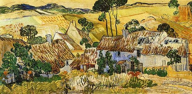 Gogh-ThatchedHousesagainstaHill
