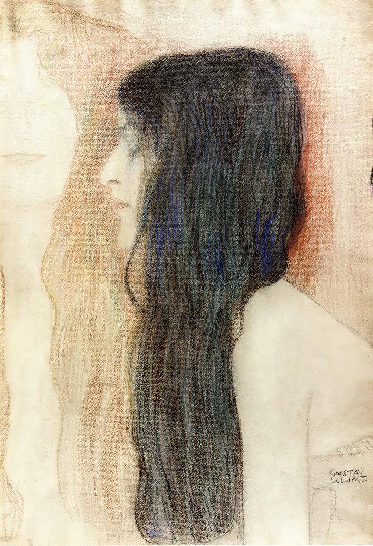 GustavKlimt-GirlwithLongHairwithasketchforNudeVeritas1
