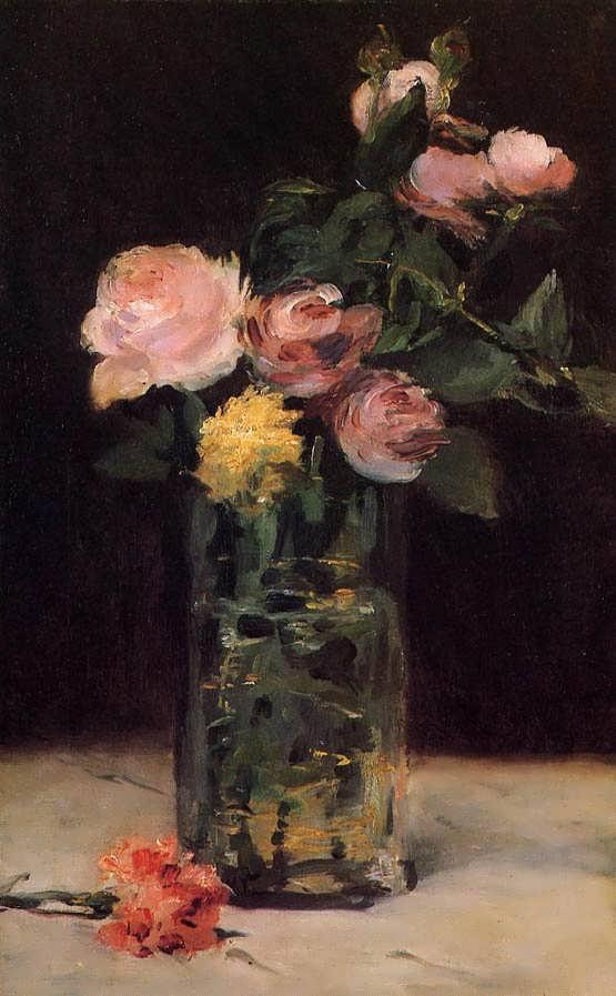 Manet-RosesinaGlassVase