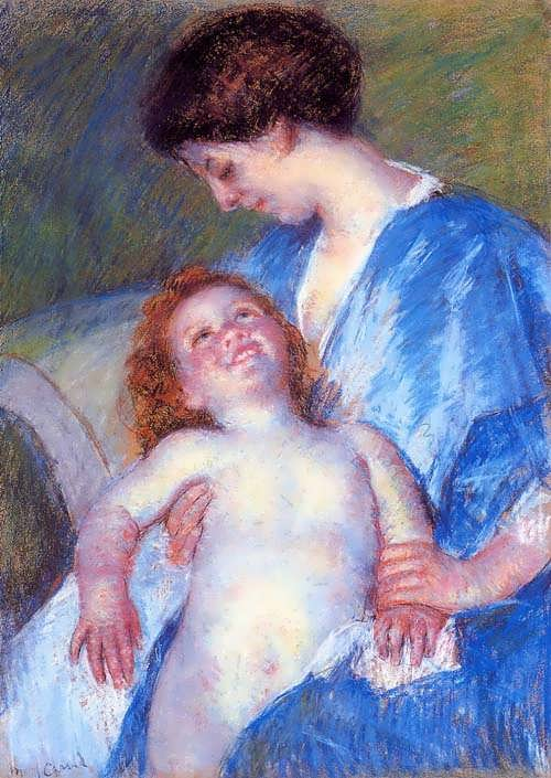 MaryCassatt-BabySmilingupatHerMother