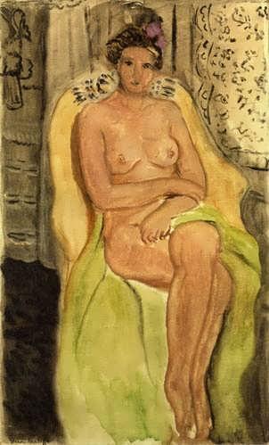 Matisse-NudeinanArmchairLegsCrossed