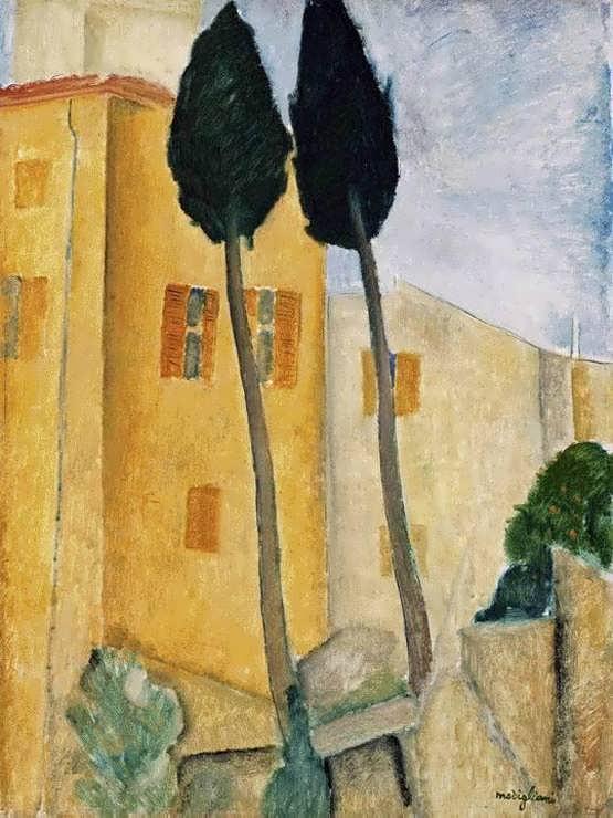 Modigliani-CypressTreesandHousesMiddayLandscape