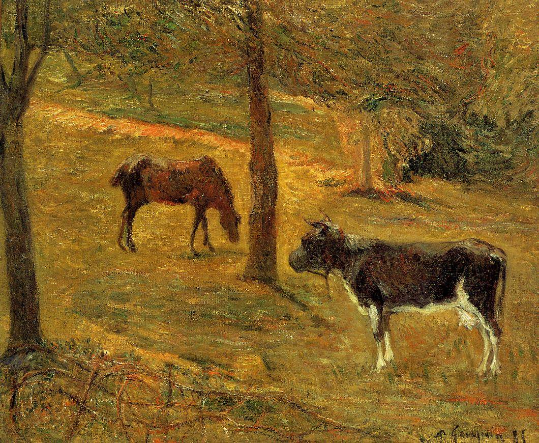 PaulGauguin-HorseandCowinaField