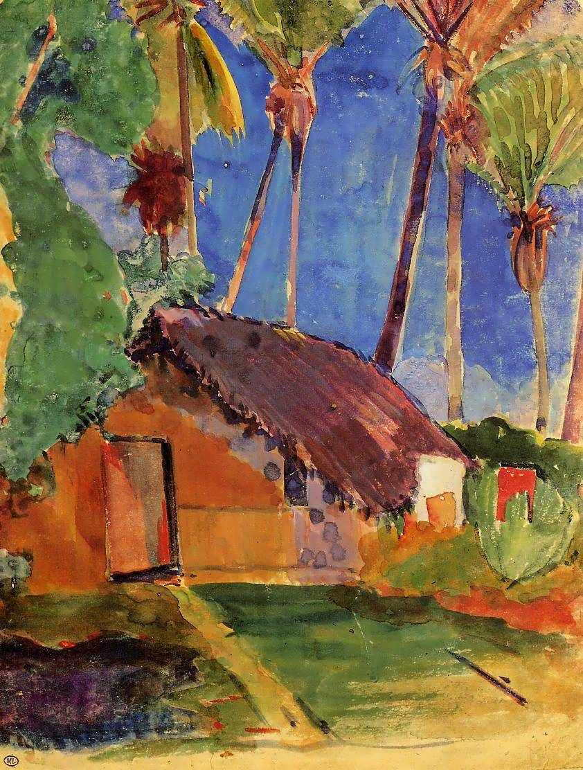 PaulGauguin-ThatchedHutunderPalmTrees