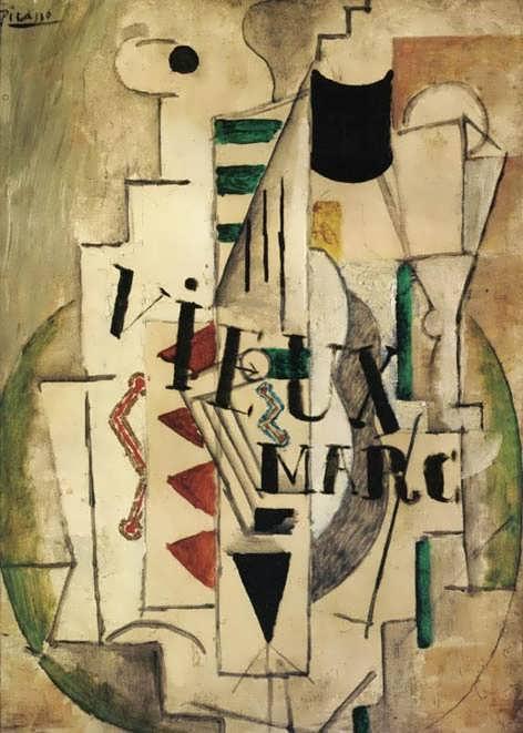 Picasso-GuitarGlassandBottleofVieuxMarc