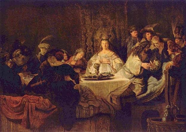 Rembrandt_SamsonPuttingForthHisRiddlesattheWeddingFeast