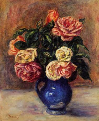 Renior-RosesinaBlueVase