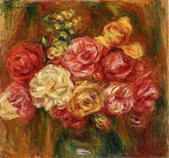 Renoir-BouquetofRosesinaGreenVase