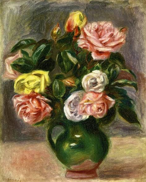 Renoir-BouquetofRosesinaGreenVaseII