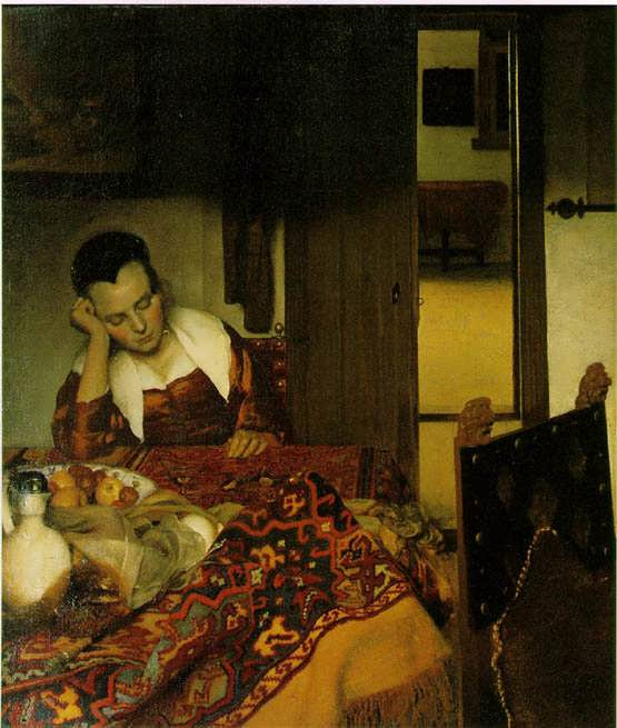 Vermeer-AWomanAsleepataTable