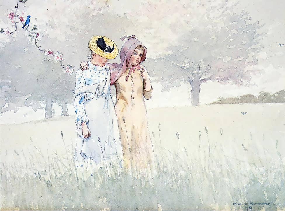 WinslowHomer-GirlsStrollinginanOrchard